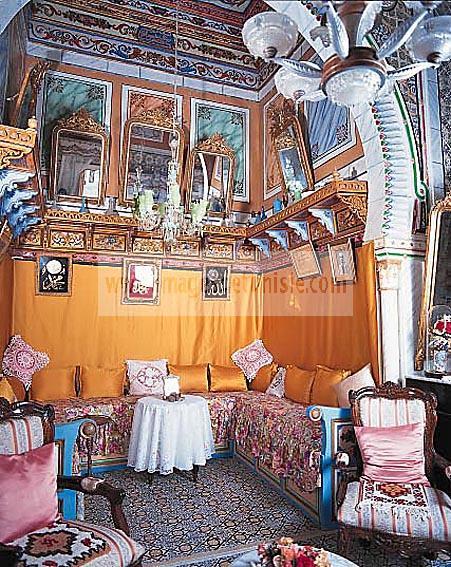 mahdia;architecture;musulmane;chambre;maison;Palais;medina;d�coration;interieur;