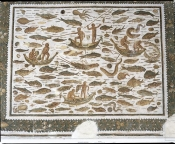 mosaique;antiquite;mer;barque;poisson;sousse