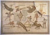 mosaique;antiquite;sousse;amphitheatre;jeux;combat;gladiateur;spectacle;fauve