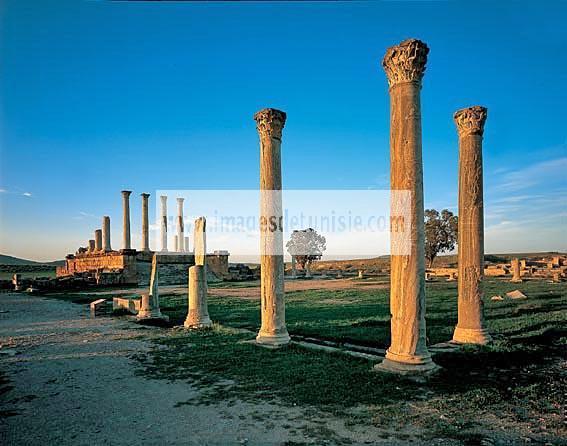 antiquite;romain;thuburbo;majus;forum;temple;